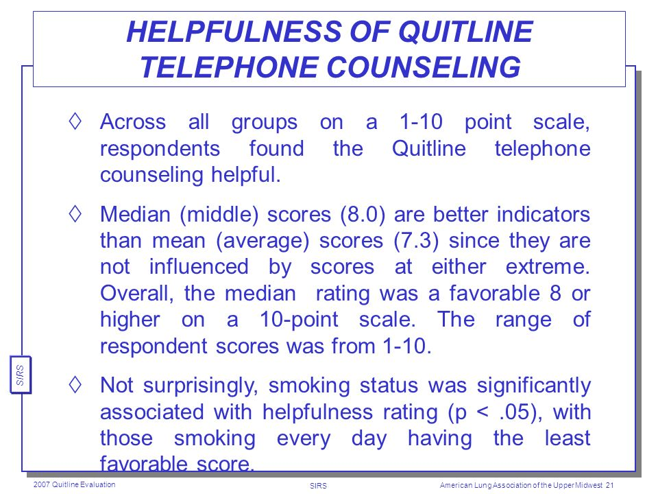 SIRS 2007 Quitline Evaluation American Lung Association of the Upper Midwest 20 HELPFULNESS OF QUITLINE INFORMATION PACKET The majority of respondents