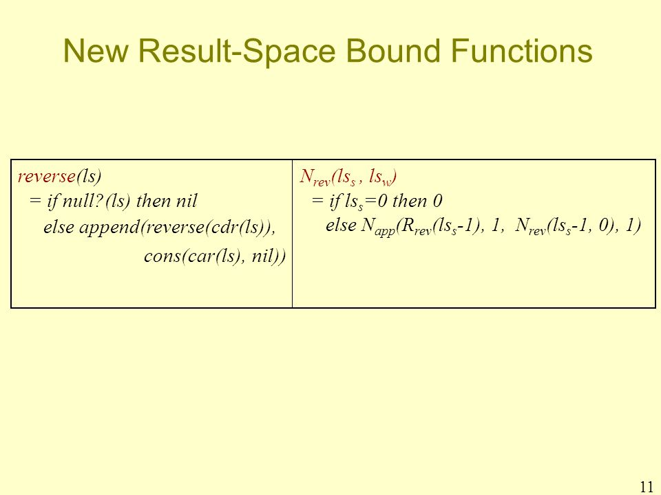 11 New Result-Space Bound Functions reverse(ls) = if null (ls) then nil else append(reverse(cdr(ls)), cons(car(ls), nil)) N rev (ls s, ls w ) = if ls s =0 then 0 else N app (R rev (ls s -1), 1, N rev (ls s -1, 0), 1)