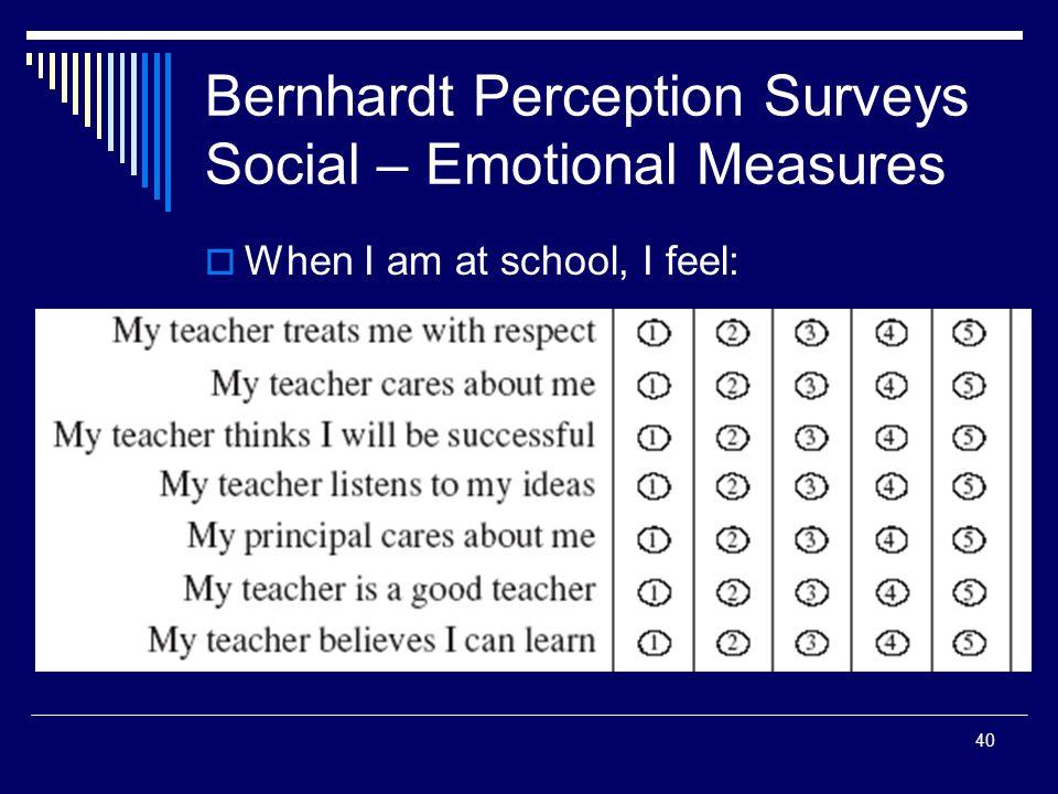 40 Bernhardt Perception Surveys Social – Emotional Measures When I am at school, I feel: