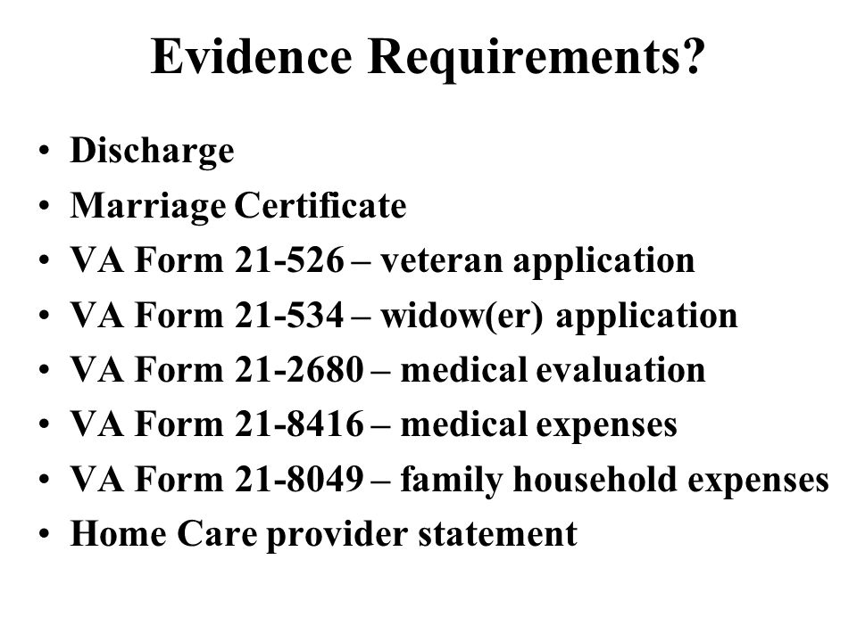 Evidence Requirements.