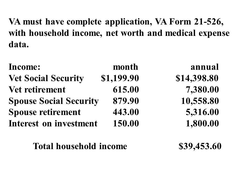 VA must have complete application, VA Form 21-526, with household income, net worth and medical expense data.