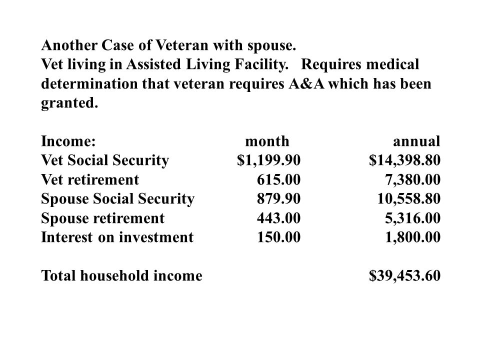 Another Case of Veteran with spouse. Vet living in Assisted Living Facility.