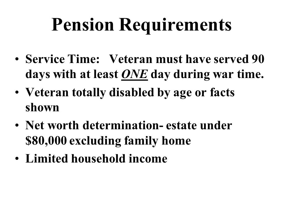 WEEK SEVEN Disability Pension Death Pension Special Monthly ...