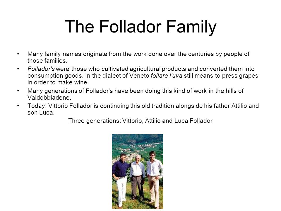 The Follador Family Many family names originate from the work done over the centuries by people of those families.