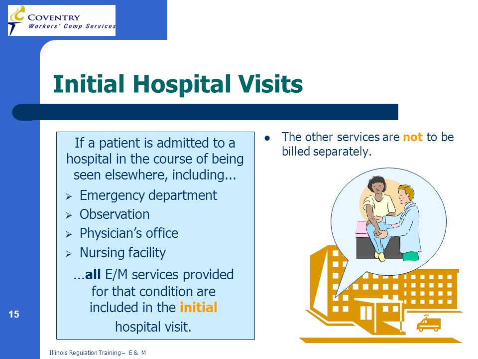 15 Illinois Regulation Training – E & M Initial Hospital Visits The other services are not to be billed separately.