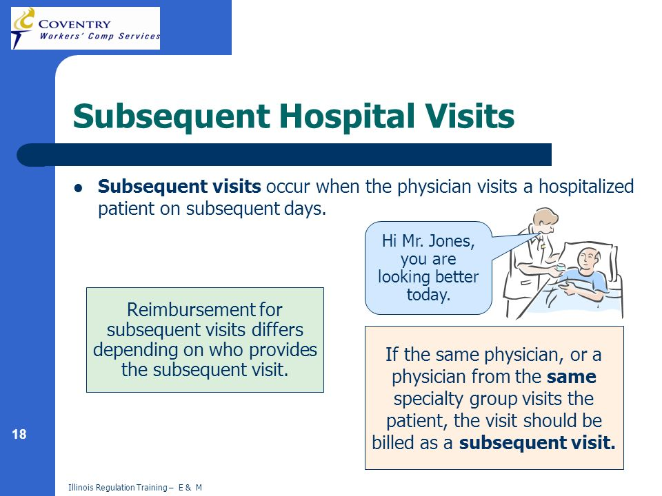 18 Illinois Regulation Training – E & M Subsequent Hospital Visits Subsequent visits occur when the physician visits a hospitalized patient on subsequ
