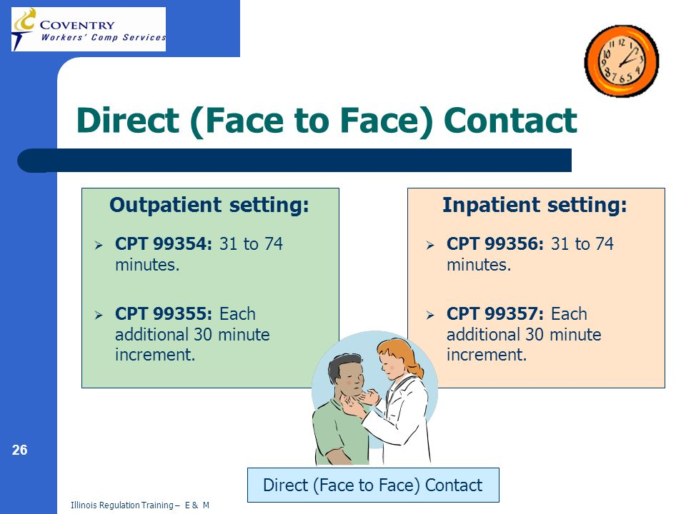 26 Illinois Regulation Training – E & M Direct (Face to Face) Contact Outpatient setting: CPT 99354: 31 to 74 minutes.