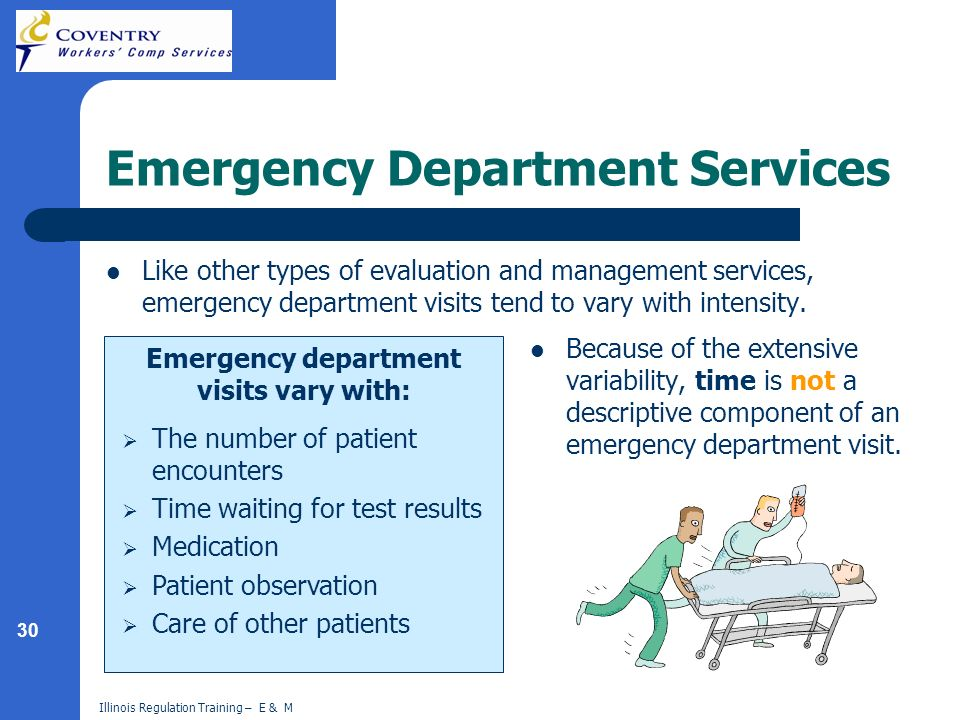30 Illinois Regulation Training – E & M Emergency Department Services Like other types of evaluation and management services, emergency department vis