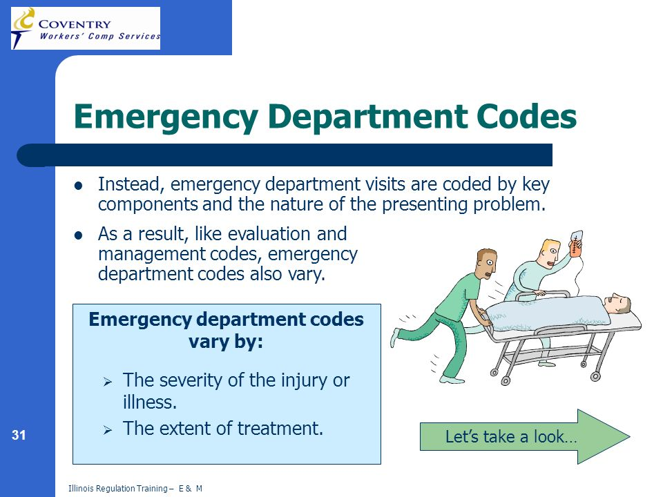 31 Illinois Regulation Training – E & M Emergency Department Codes Instead, emergency department visits are coded by key components and the nature of the presenting problem.