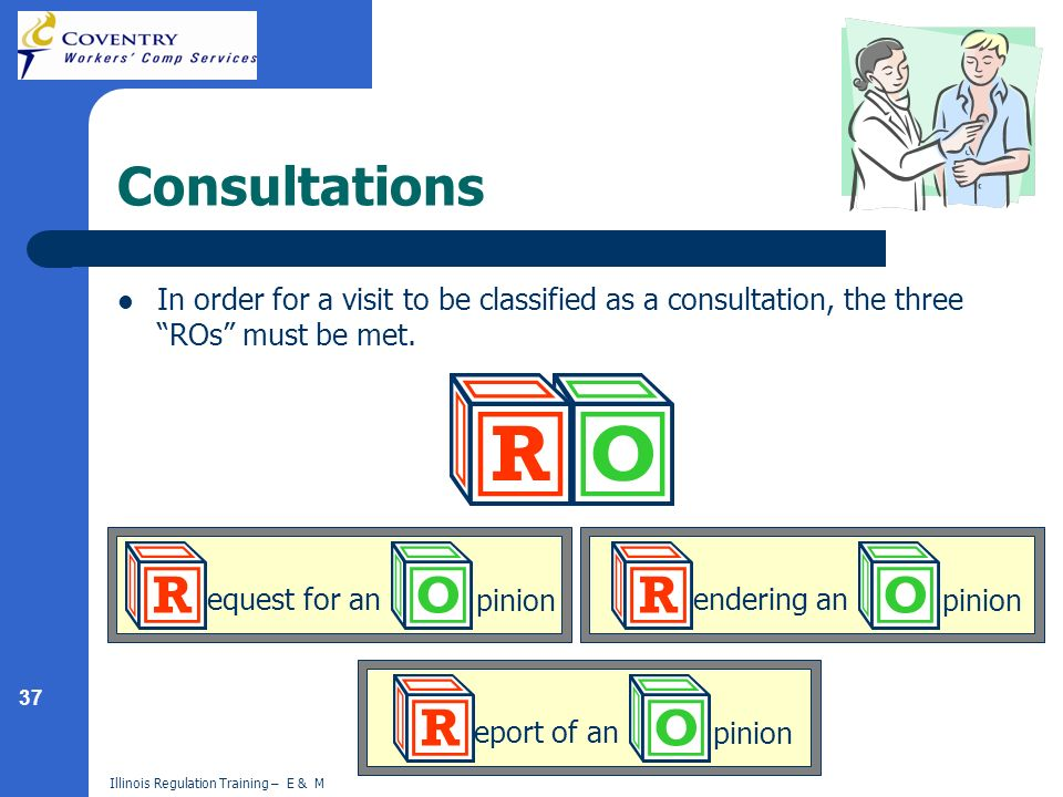 37 Illinois Regulation Training – E & M Consultations In order for a visit to be classified as a consultation, the three ROs must be met. pinion eques