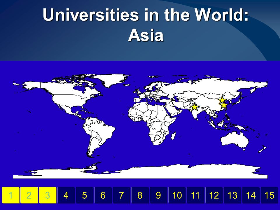 Universities in the World: Asia 456789101112131415123