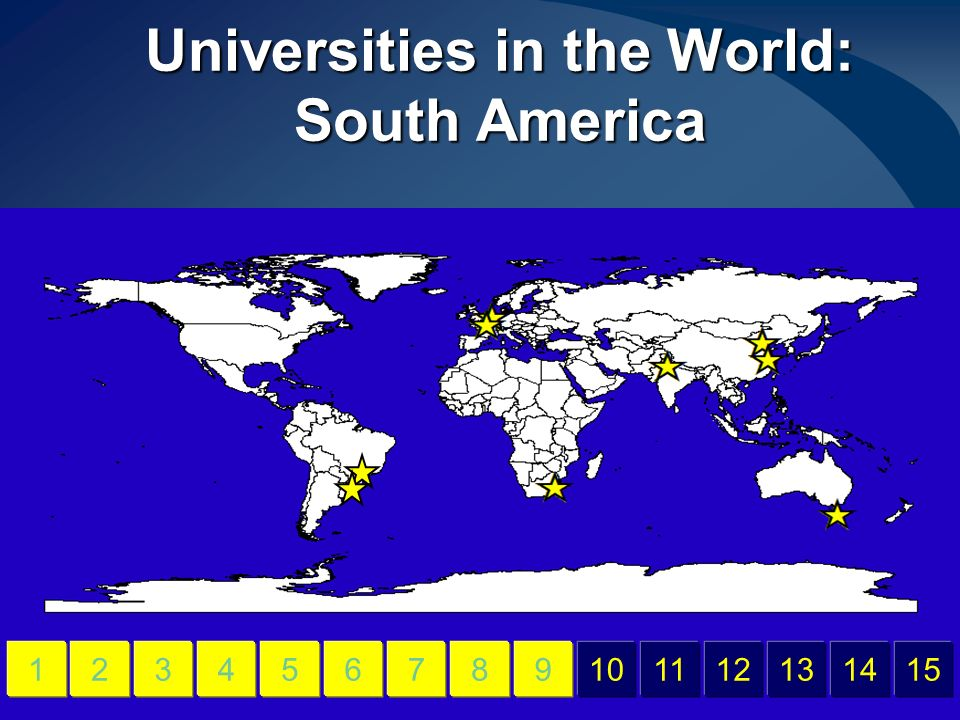 Universities in the World: South America 456789101112131415123