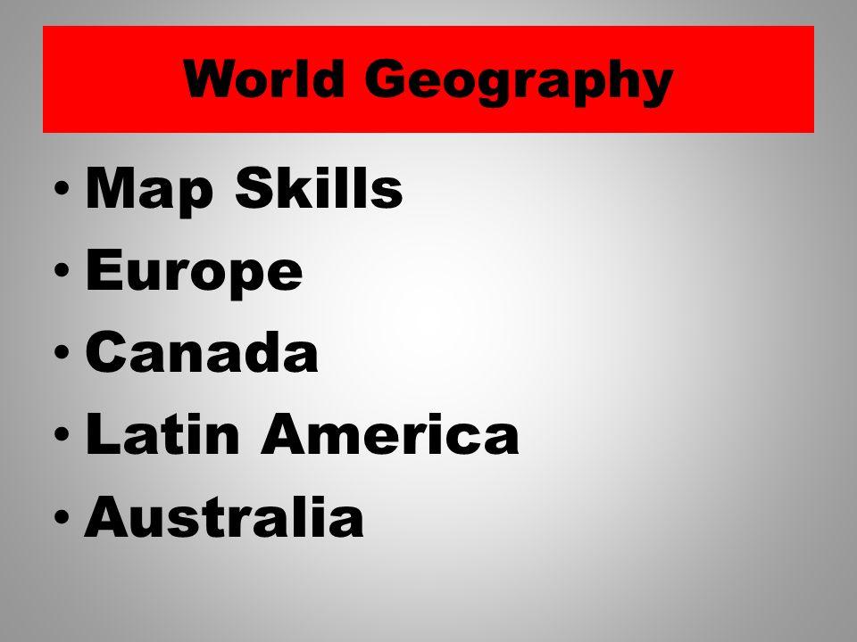 World Geography Map Skills Europe Canada Latin America Australia