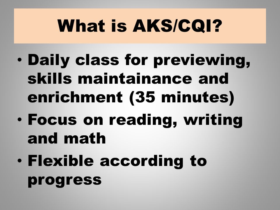 What is AKS/CQI.