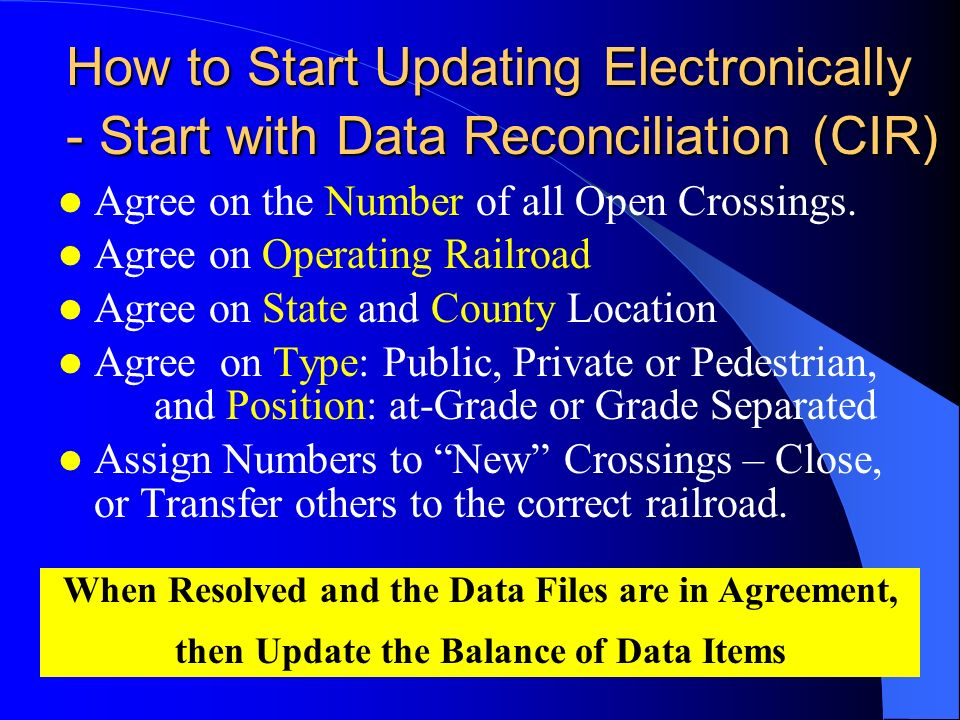 How to Start Updating Electronically - Start with Data Reconciliation (CIR) Agree on the Number of all Open Crossings.