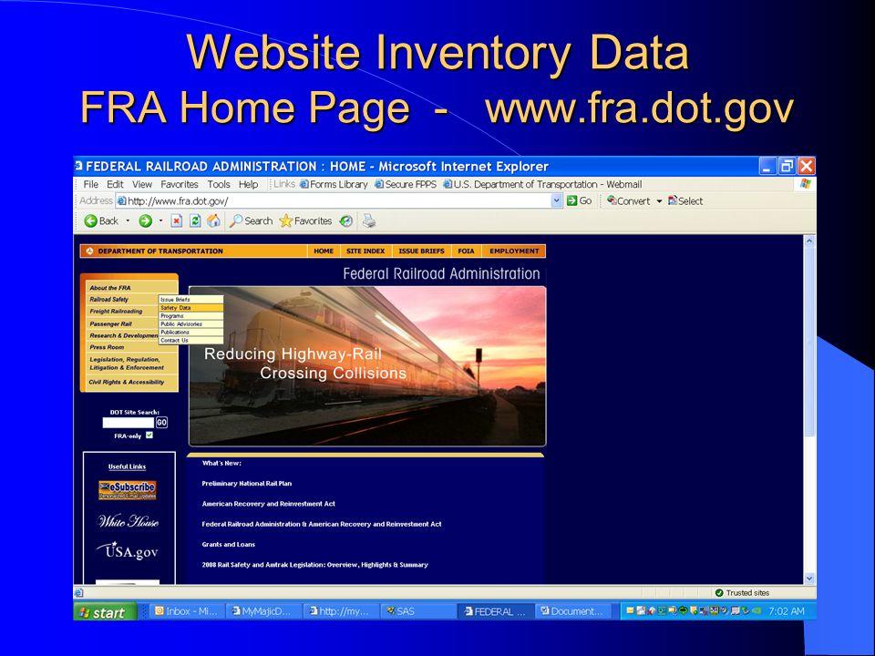 Website Inventory Data FRA Home Page - www.fra.dot.gov