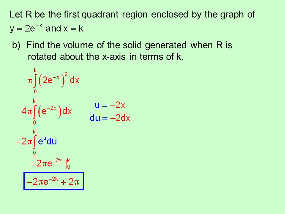 Let R be the first quadrant region enclosed by the graph of b)Find the volume of the solid generated when R is rotated about the x-axis in terms of k.