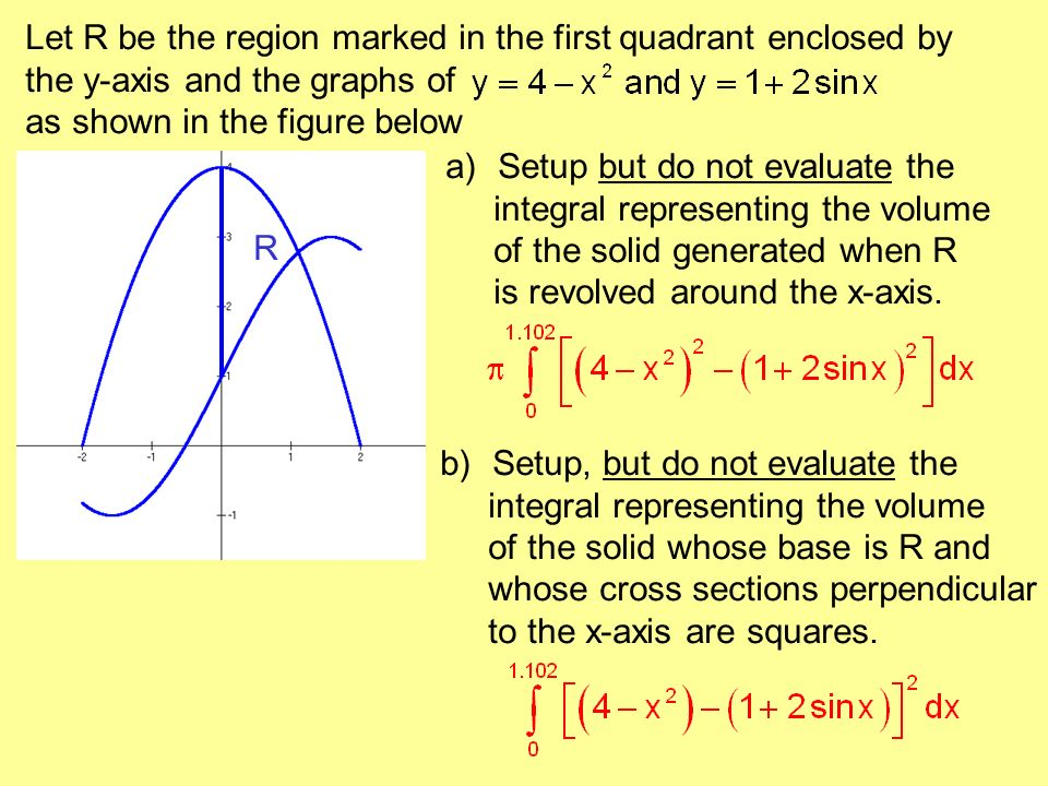 Let R be the region marked in the first quadrant enclosed by the y-axis and the graphs of as shown in the figure below R a)Setup but do not evaluate t