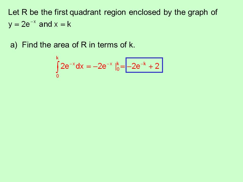 Let R be the first quadrant region enclosed by the graph of a) Find the area of R in terms of k.