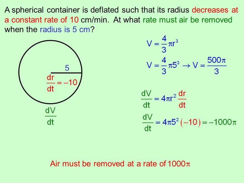 A spherical container is deflated such that its radius decreases at a constant rate of 10 cm/min. At what rate must air be removed when the radius is
