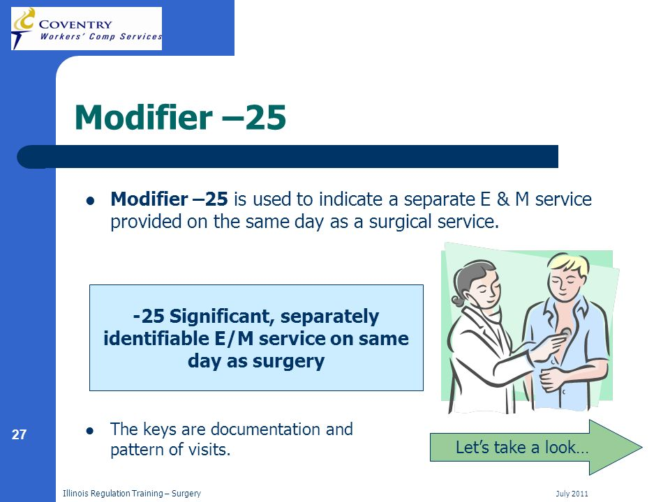 27 Illinois Regulation Training – Surgery July 2011 Modifier –25 Modifier –25 is used to indicate a separate E & M service provided on the same day as a surgical service.