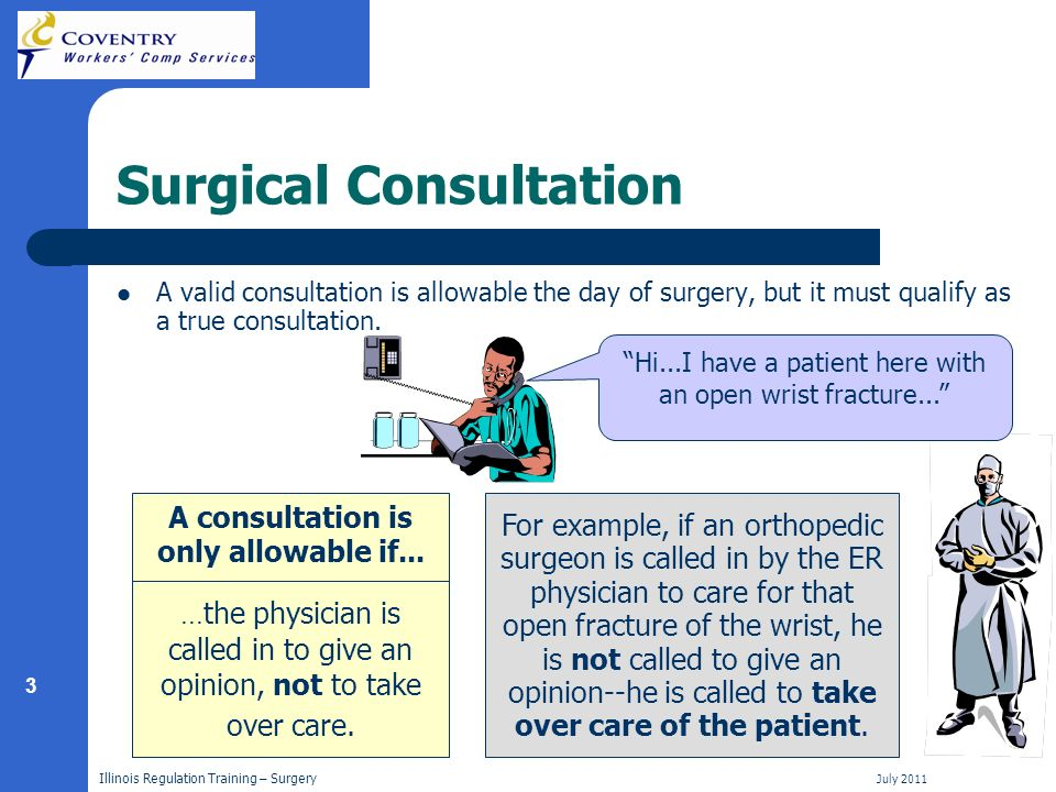 3 Illinois Regulation Training – Surgery July 2011 Surgical Consultation A valid consultation is allowable the day of surgery, but it must qualify as a true consultation.