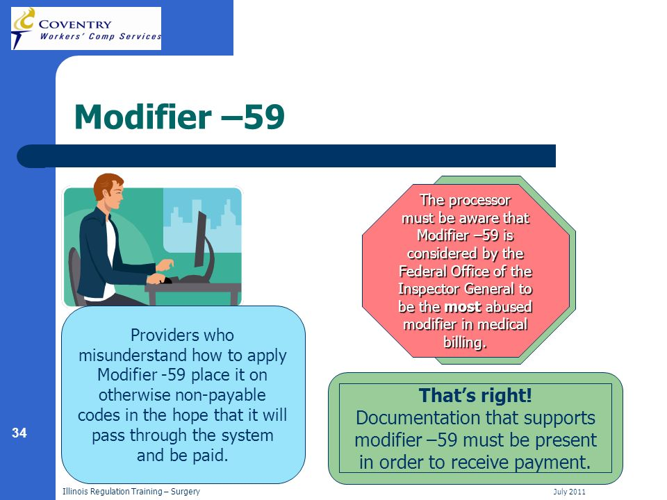 34 Illinois Regulation Training – Surgery July 2011 Modifier –59 Providers who misunderstand how to apply Modifier -59 place it on otherwise non-payable codes in the hope that it will pass through the system and be paid.