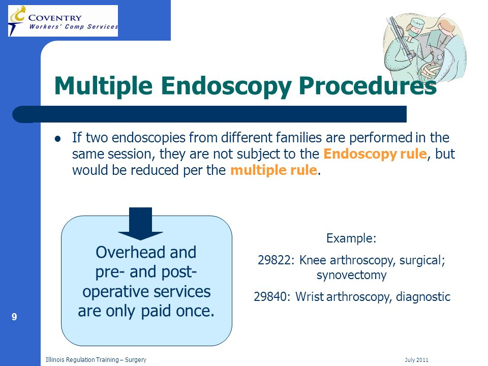 9 Illinois Regulation Training – Surgery July 2011 Multiple Endoscopy Procedures If two endoscopies from different families are performed in the same session, they are not subject to the Endoscopy rule, but would be reduced per the multiple rule.