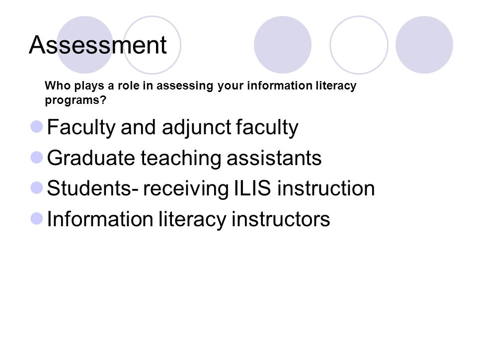 Assessment Faculty and adjunct faculty Graduate teaching assistants Students- receiving ILIS instruction Information literacy instructors Who plays a