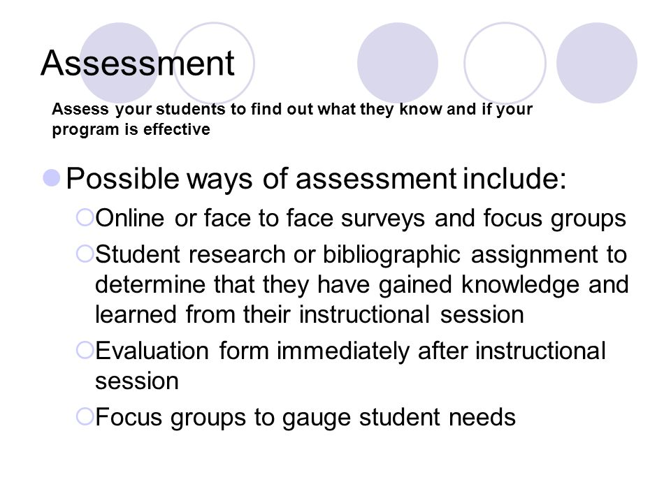 Assessment Possible ways of assessment include: Online or face to face surveys and focus groups Student research or bibliographic assignment to determ