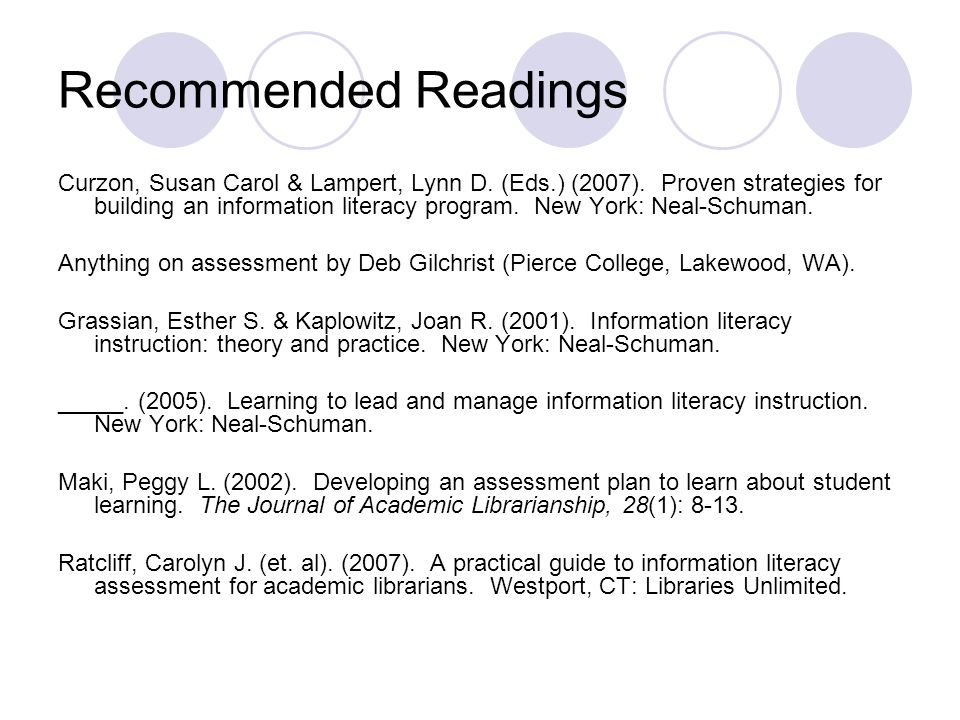 Recommended Readings Curzon, Susan Carol & Lampert, Lynn D. (Eds.) (2007). Proven strategies for building an information literacy program. New York: N