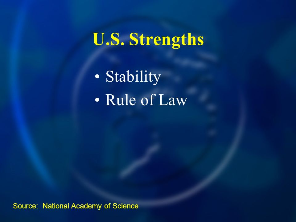 U.S. Strengths Stability Rule of Law Source: National Academy of Science