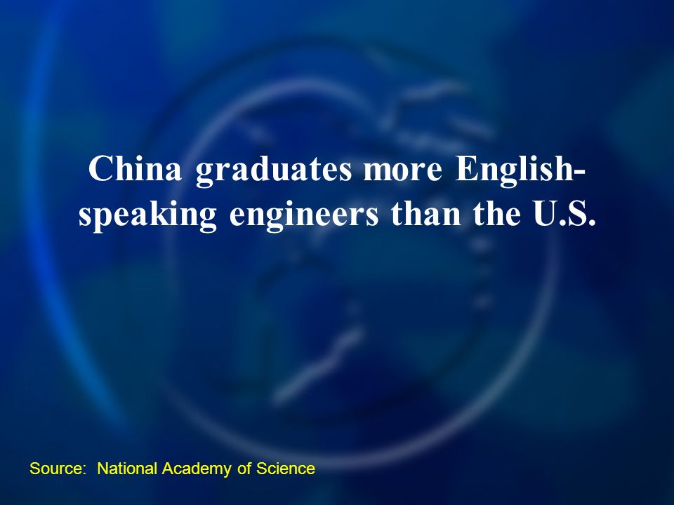 China graduates more English- speaking engineers than the U.S. Source: National Academy of Science