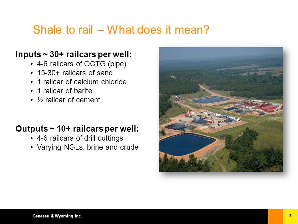 7Genesee & Wyoming Inc. Inputs ~ 30+ railcars per well: 4-6 railcars of OCTG (pipe) 15-30+ railcars of sand 1 railcar of calcium chloride 1 railcar of