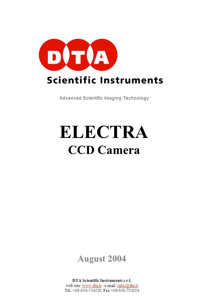 DTA Scientific Instruments s.r.l. web site: www.dta.it - e-mail: sales@dta.it Tel. +39-050-754250 Fax +39-050-754254 Advanced Scientific Imaging Techn