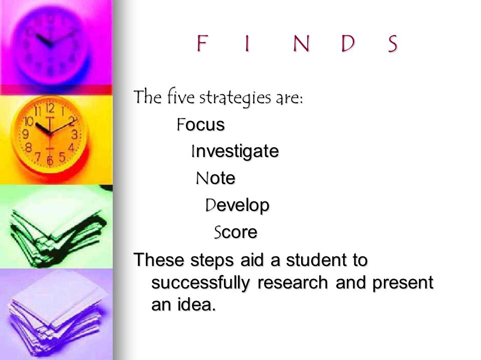 FINDSFINDSFINDSFINDS The five strategies are: Focus Focus Investigate Investigate Note Note Develop Develop Score Score These steps aid a student to successfully research and present an idea.