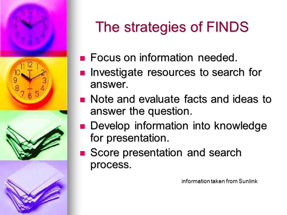 The strategies of FINDS The strategies of FINDS Focus on information needed. Focus on information needed. Investigate resources to search for answer.
