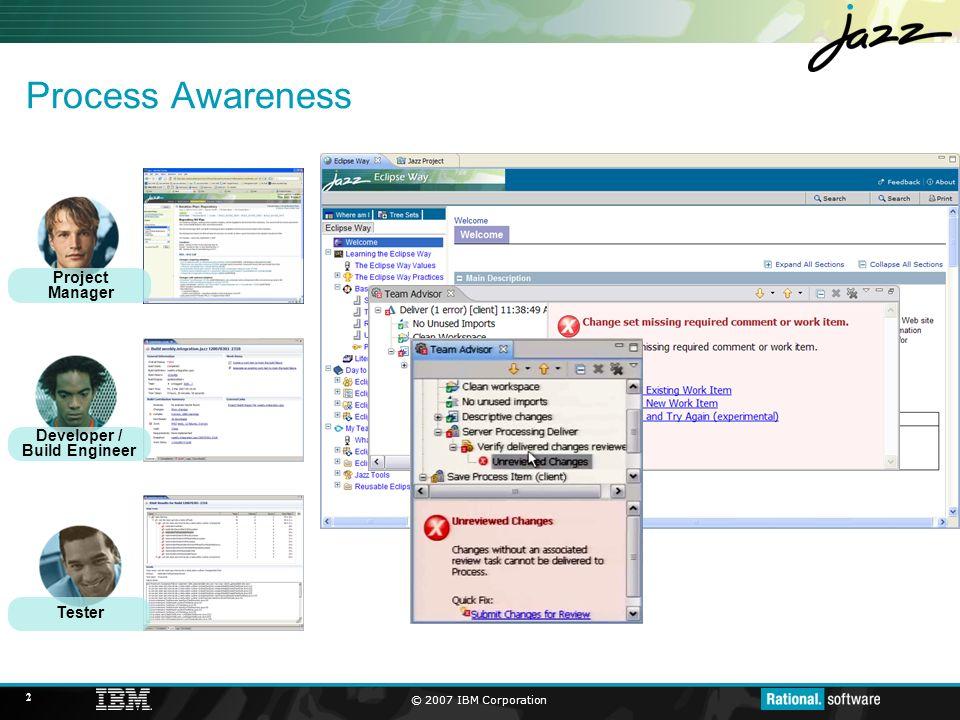 © 2007 IBM Corporation 3 Work Items Project Manager Developer / Build Engineer Tester