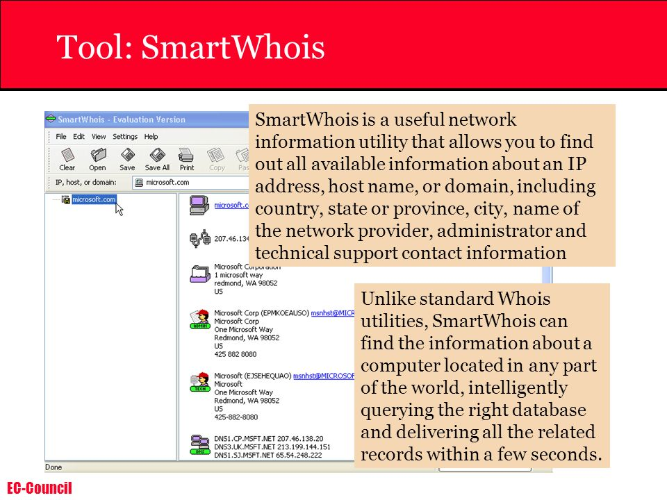 EC-Council Tool: SmartWhois SmartWhois is a useful network information utility that allows you to find out all available information about an IP addre