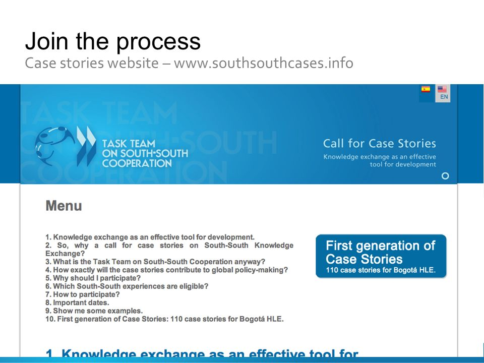 Join the process Case stories website – www.southsouthcases.info