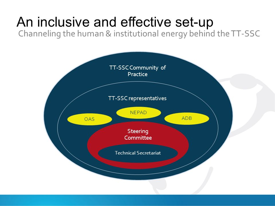 An inclusive and effective set-up Channeling the human & institutional energy behind the TT-SSC TT-SSC Community of Practice TT-SSC representatives Steering Committee Technical Secretariat NEPAD OAS ADB