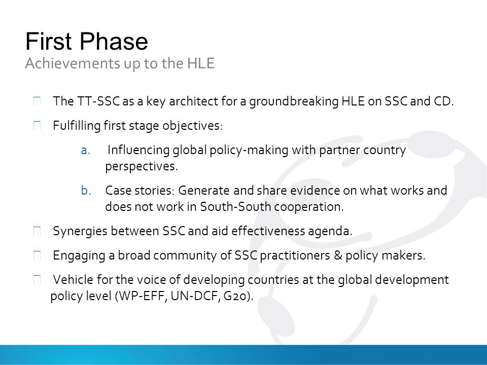 First Phase Achievements up to the HLE The TT-SSC as a key architect for a groundbreaking HLE on SSC and CD.