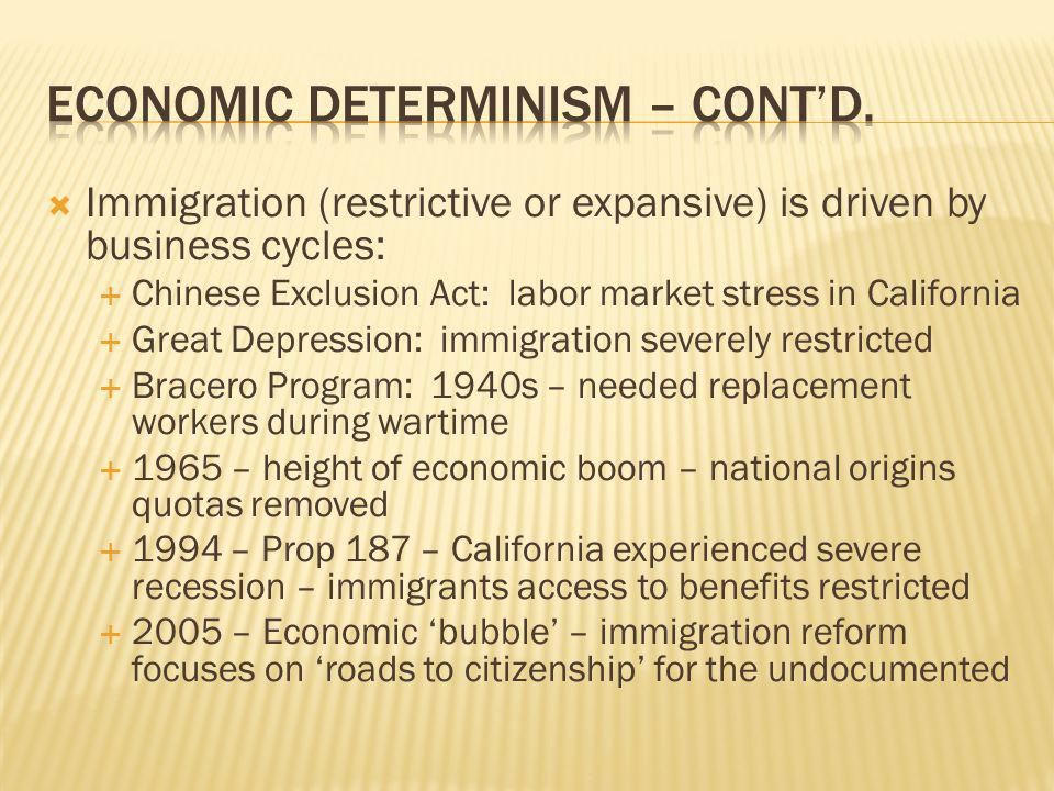 Immigration (restrictive or expansive) is driven by business cycles: Chinese Exclusion Act: labor market stress in California Great Depression: immigr