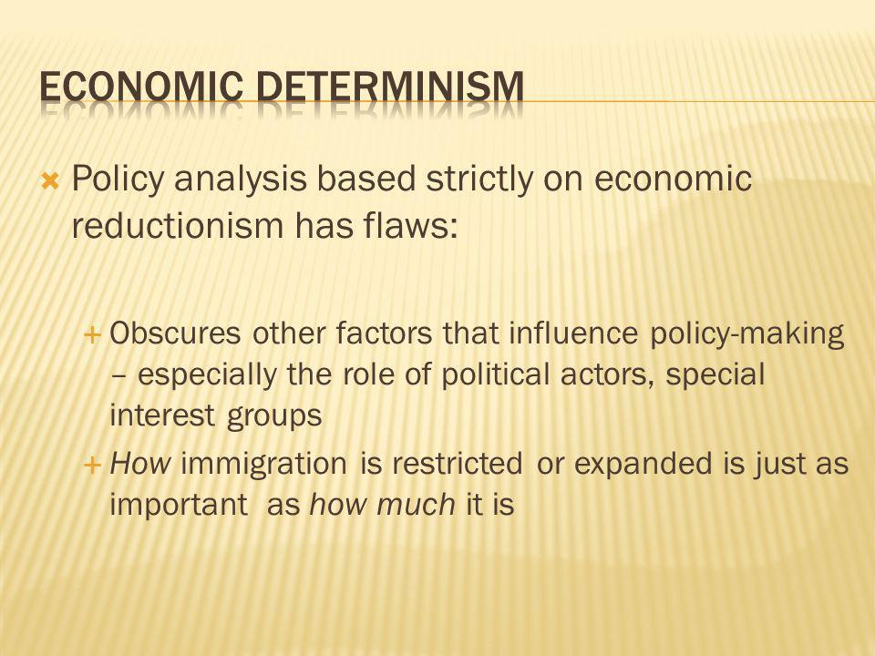 Policy analysis based strictly on economic reductionism has flaws: Obscures other factors that influence policy-making – especially the role of politi