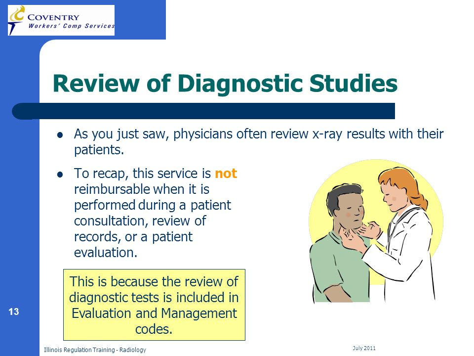 13 Illinois Regulation Training - Radiology July 2011 Review of Diagnostic Studies As you just saw, physicians often review x-ray results with their patients.