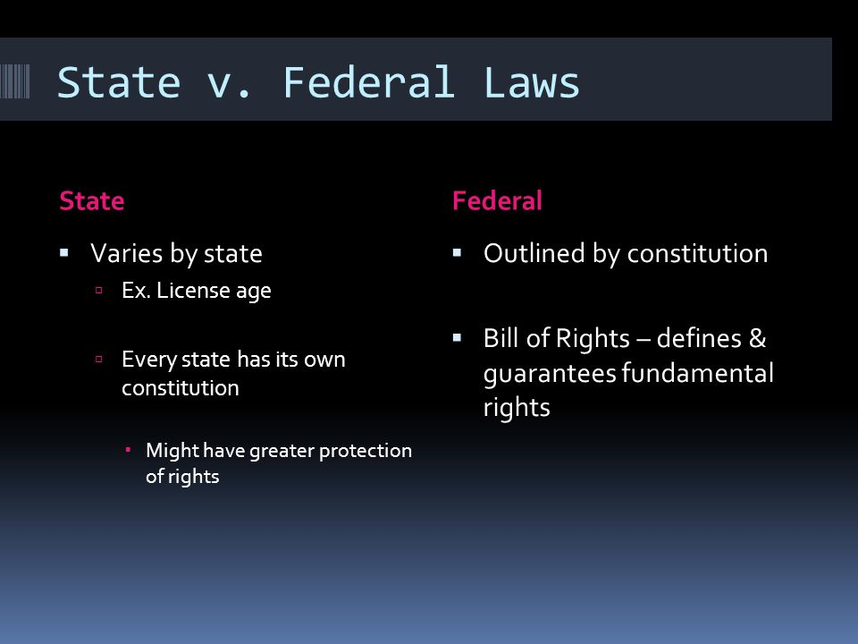 State v. Federal Laws StateFederal Varies by state Ex. License age Every state has its own constitution Might have greater protection of rights Outlin
