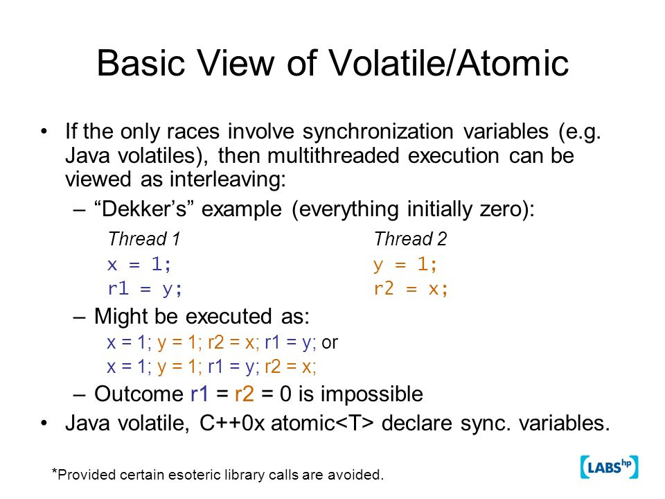 Basic View of Volatile/Atomic If the only races involve synchronization variables (e.g. Java volatiles), then multithreaded execution can be viewed as
