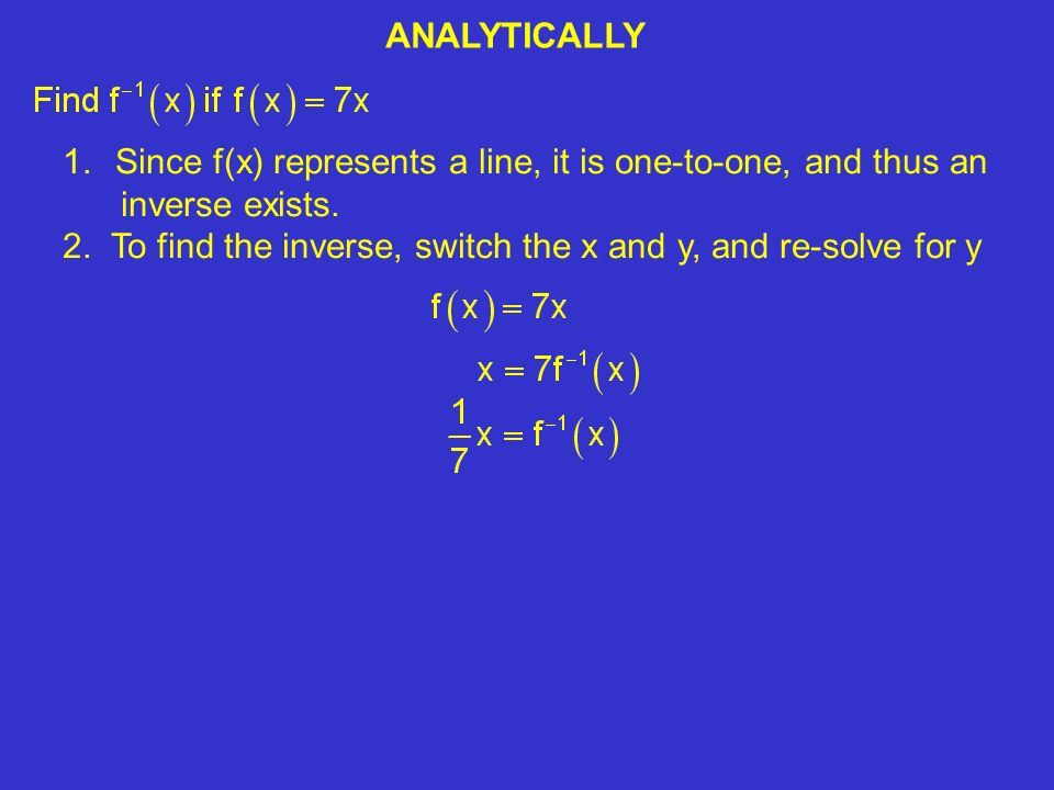 ANALYTICALLY 1.Since f(x) represents a line, it is one-to-one, and thus an inverse exists.