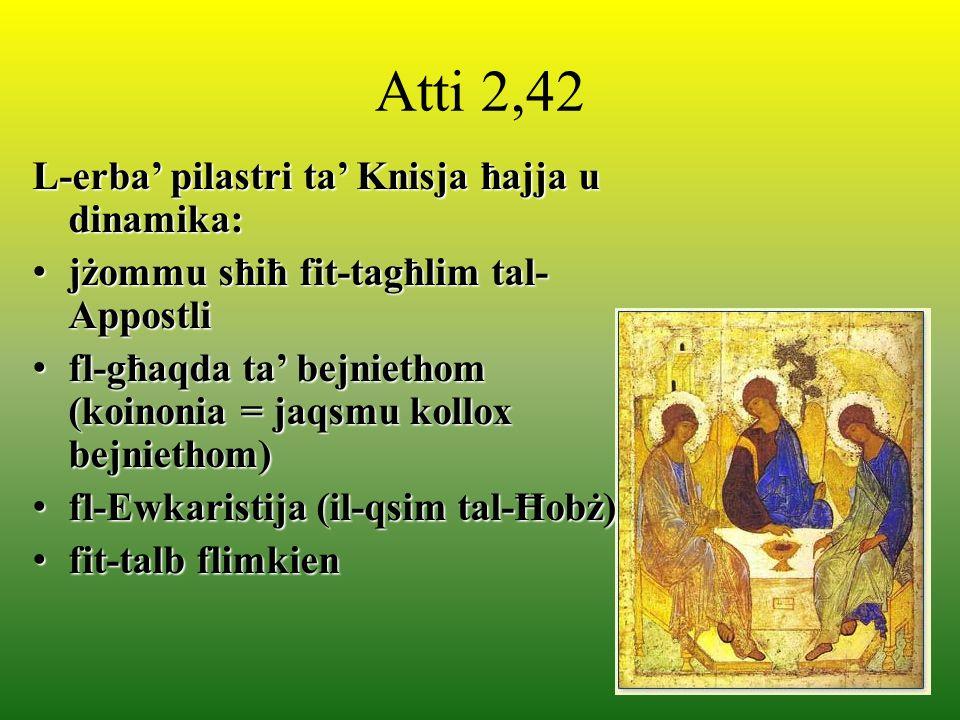Atti 2,42 L-erba pilastri ta Knisja ħajja u dinamika: jżommu sħiħ fit-tagħlim tal- Appostli jżommu sħiħ fit-tagħlim tal- Appostli fl-għaqda ta bejniet