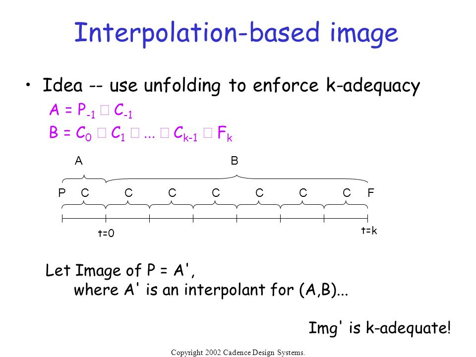 Copyright 2002 Cadence Design Systems. Permission is granted to reproduce without modification. Interpolation-based image Idea -- use unfolding to enf